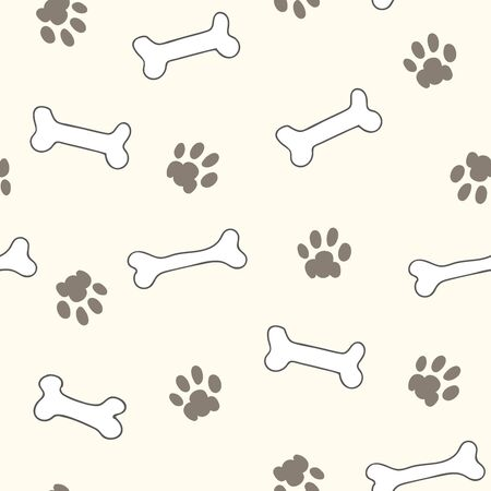 Seamless repeat pattern with bones and paw prints on an ivory background