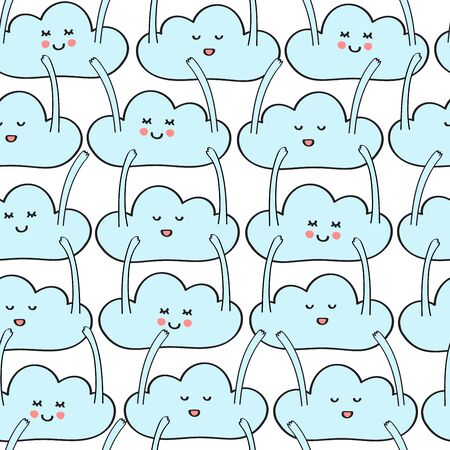 Seamless repeat pattern with happy blue dancing clouds with hands up waving in the air Çizim