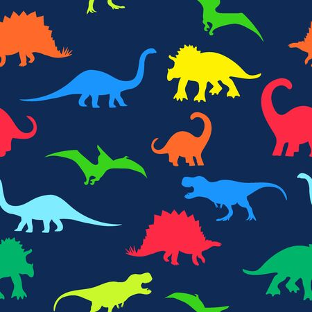 Seamless repeat pattern with colorful neon dinosaur silhouettes on a navy blue background 矢量图像