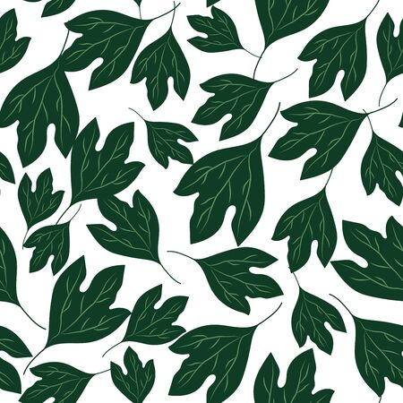 Busy ditsy seamless repeat pattern with tossed green sassafras leaves