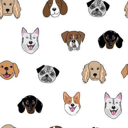 Patrón de repetición perfecta de media gota con cabezas de perro felices Ilustración de vector