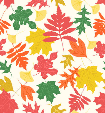 Sophisticated seamless repeat pattern with bright colorful leaves silhouettes on a cream background