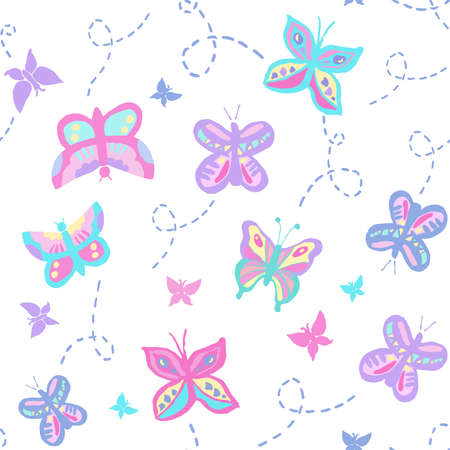 Seamless repeat pattern with buzzing flying butterflies in pastel pink and purple colors