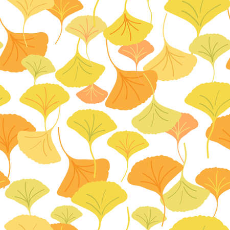 All over seamless repeat pattern with cascading ginkgo biloba leaves of different shades of yellow. Beautiful sophisticated autumnal pattern. Ilustração