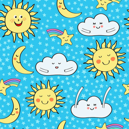 Kids baby seamless repeat pattern with cute moons, stars and cloud on a blue background with ditsy stars