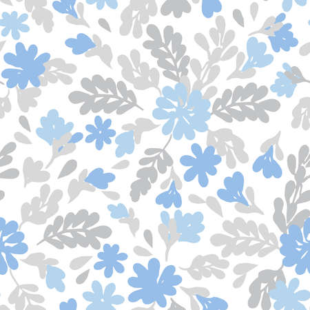 Seamless vector floral repeat pattern with tossed tonal spring summer flowers in light baby blue and gray with branches, leaves and twigs
