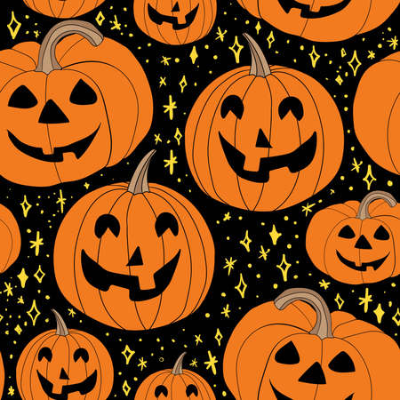 Graphic doodle Halloween seamless repeat pattern with white ghost silhouettes with different faces and gray shadows