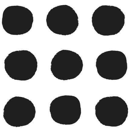 Seamless repeat pattern with big bold black irregular rough edge hand-drawn polka dots in rows on a white background