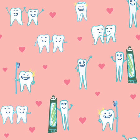 Whimsical dental seamless vector repeat pattern with happy smiling teeth tooth characters holding toothbrushes and toothpaste, surrounded by hearts on a pink ground Vektorové ilustrace