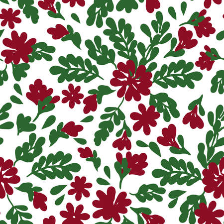 All over seamless vector botanical floral repeat pattern with tossed red and green Christmas  flowers  with branches, leaves and twigs