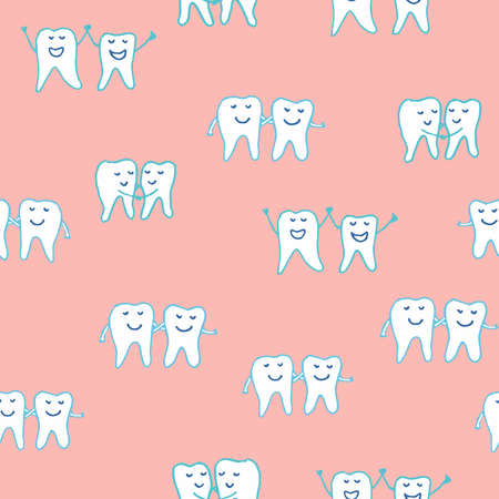 Whimsical dental seamless vector repeat pattern with happy smiling teeth tooth characters holding hands on a pink ground