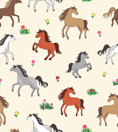 Sophisticated vector repeat pattern with happy horses galloping on a flower meadow on a cream background