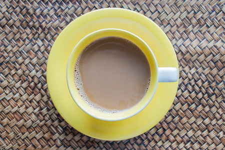 energizing: A cup of coffee top view Stock Photo