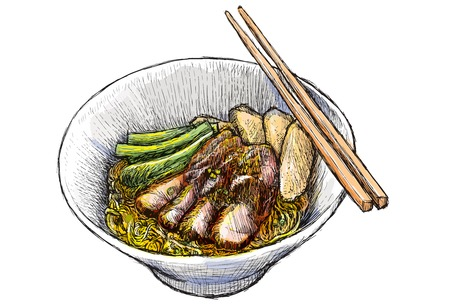 豚肉麺の 1 のボウルは、描画し、図を描きます。