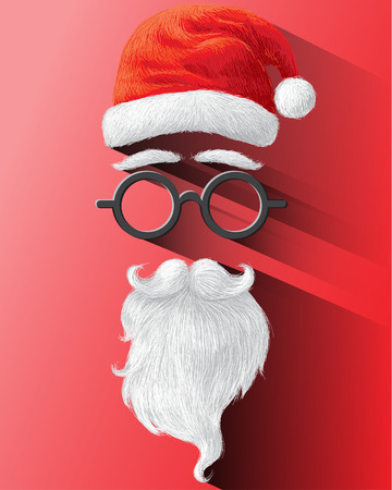red beard: Santa hat, glasses and beard on red background illustration for Merry Christmas festival holiday.