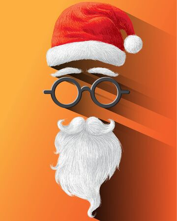 hat: Santa hat, glasses and beard on orange background illustration for Merry Christmas festival holiday.