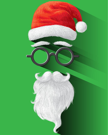 claus: Santa hat, glasses and beard on green background  illustration for Merry Christmas festival holiday.