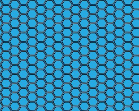 Black hexagon mesh on blue background Ilustração