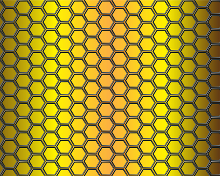 Black hexagon mesh on gold background