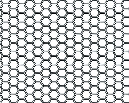 Black hexagon mesh on white background Ilustração