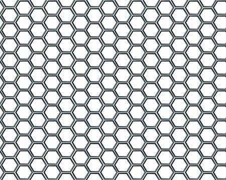 Noir maille hexagonale sur fond blanc