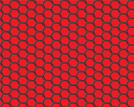 Black hexagon mesh on red background Ilustração