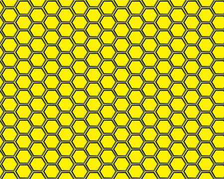 Black hexagon mesh on yellow background