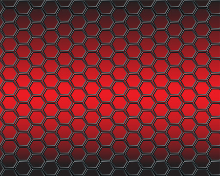 Black hexagon mesh on red light background