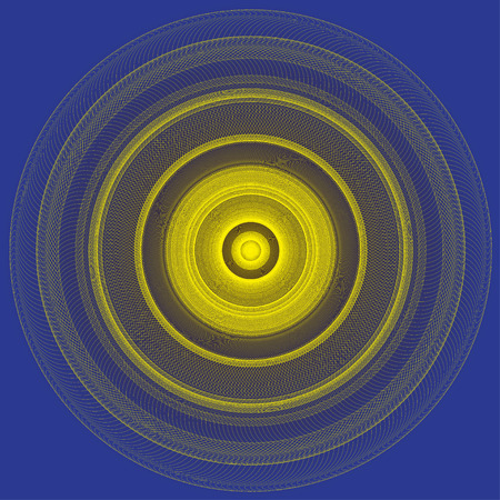 yellow line: Abstract yellow line circle on blue background illustration. Illustration