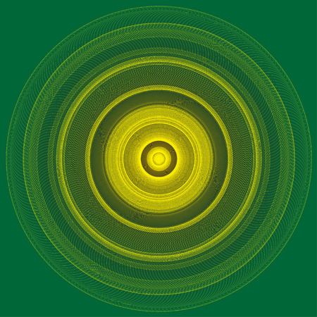 yellow line: Abstract yellow line circle on green background illustration.