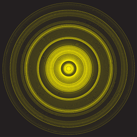 yellow line: Abstract yellow line circle on black background illustration. Illustration