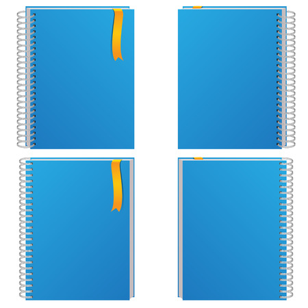 bind: Blue notebook collection on white background illustration.