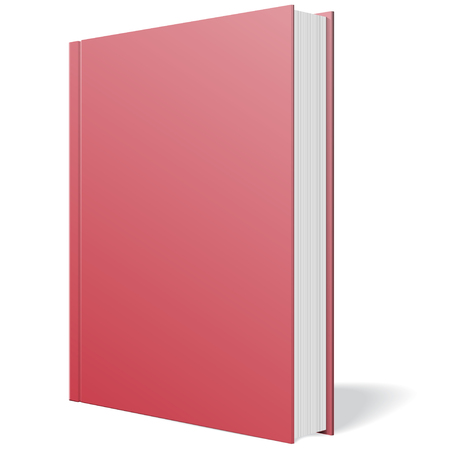 bind: Red notebook standing on white background illustration.