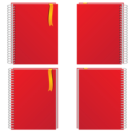 bind: Red notebook collection on white background illustration.