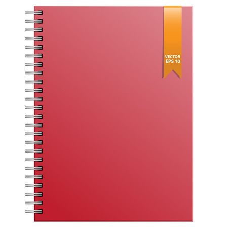 Red notebook on white background vector illustration.