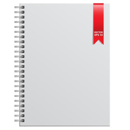 bind: White notebook on white background  illustration.