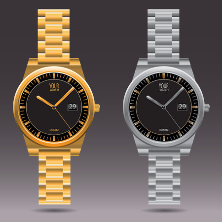 gold watch: Watch gold and silver collection design illustration.