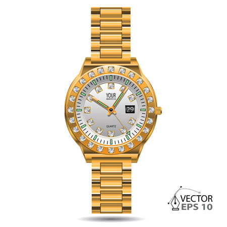 gold watch: Watch gold diamonds design on white background isolated illustration.