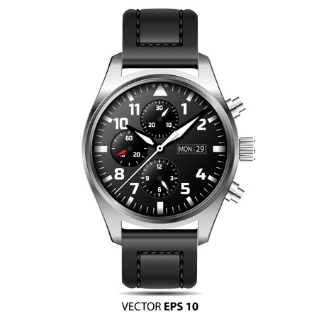 the chronograph: Watch chronograph isolated illustration. Vectores