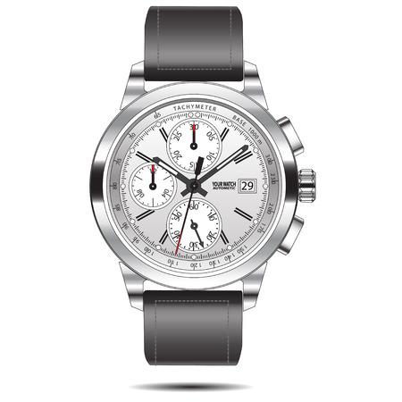 cronografo: Reloj aislados de acero cronógrafo ilustración.