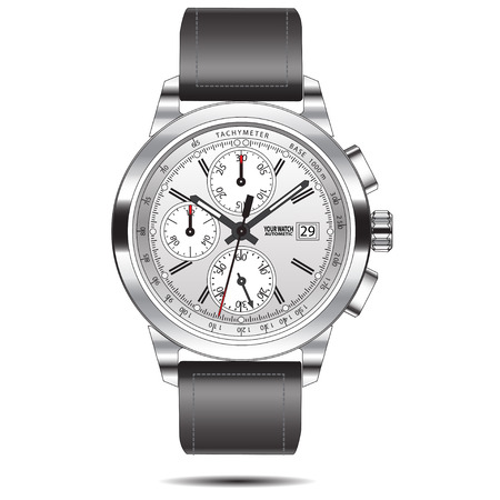 the chronograph: Watch chronograph steel isolated illustration.