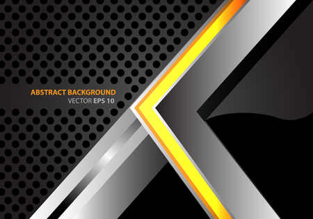 metal net: Abstract yellow arrow metal on gray circle mesh design modern background vector illustration. Illustration