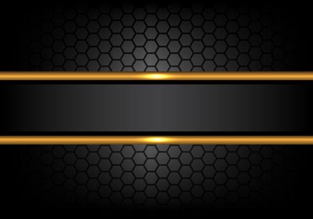 Abstract black gold line banner on hexagon mesh pattern design modern luxury background vector illustration.