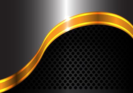 Abstract gold ribbon curve on metal and black circle mesh design luxury modern background vector illustration. Ilustração