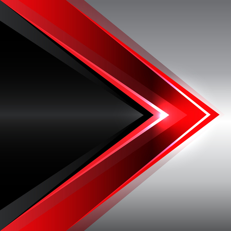 gray pattern: Abstract red arrow on black metal design modern background vector illustration.