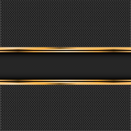 Abstrakte schwarze Goldfahne auf dunkelgrauer Kreismaschendesign-Luxushintergrund-Vektorillustration. Standard-Bild - 71403874