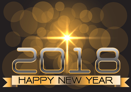 happy new year text: Happy New Year 2018 gold on night design for holiday festival vector illustration.