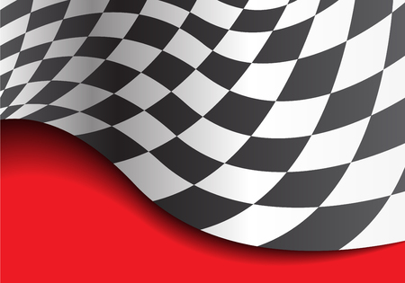 Checkered flag wave on red design race championship background vector illustration.