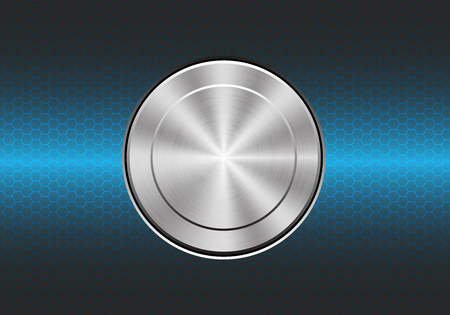 brushed steel: Technology metal button switch control power on blue hexagon mesh design modern background vector illustration.