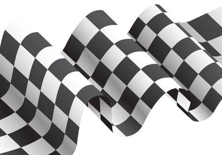 Checkered flag waving on white design for race championship illustration.